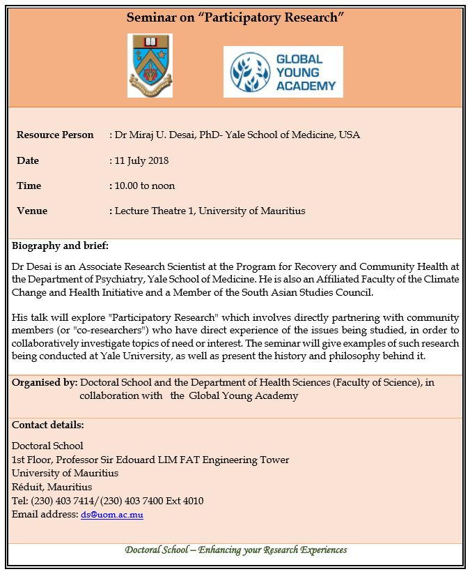 """Seminar on """"Participatory Research"""" - 11 July 2018"""